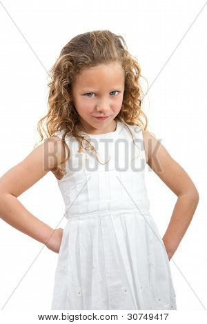 Young Girl With Angry Face Expression.