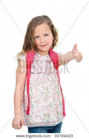 Young Student Showing Thumbs Up.