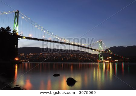 Lions Gate Bridge At Night, Vancouver, Bc