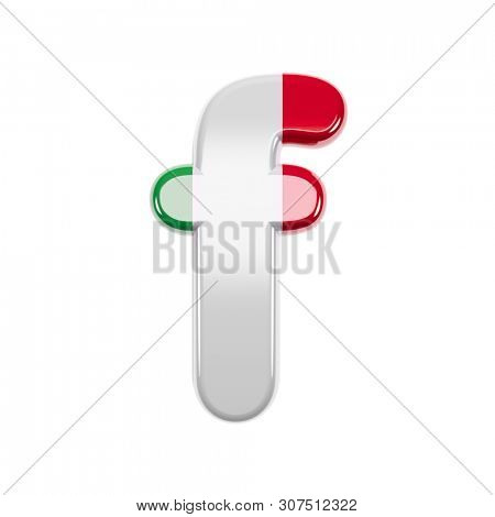 poster of Italian letter F - Lowercase 3d Italy flag font isolated on white background. This alphabet is perfe