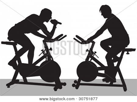 Vector drawing athletes on bike simulators