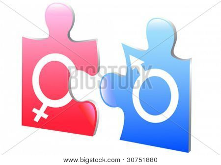 vector drawing puzzle on gender relations