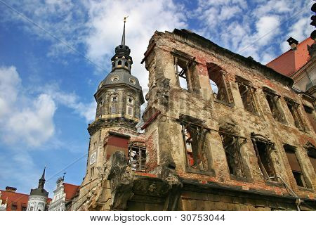 Catholic church spire and building remains after World War 2 in Dresden, Germany.