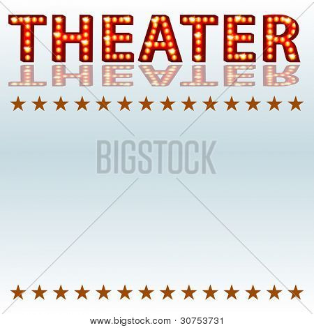 An image of a theatrical lights 3D theater text.