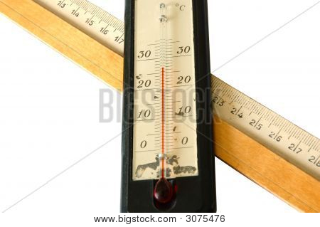 Old Alcohol Thermometer And Old Wooden Ruler.