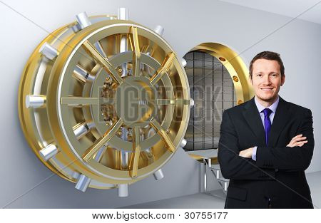 smiling businessman and 3d vault background
