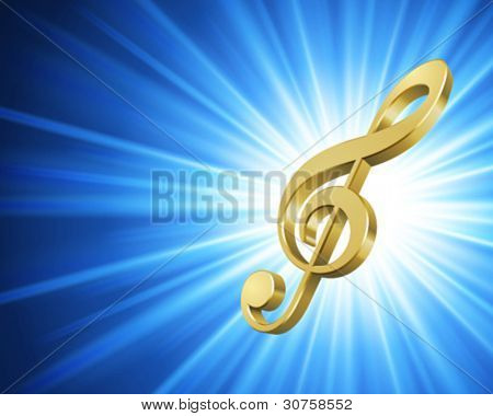 3d Music note and light vector background. Eps 10