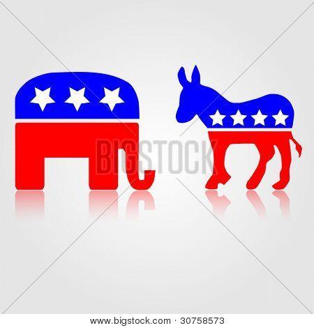 Símbolos políticos demócratas y republicanos