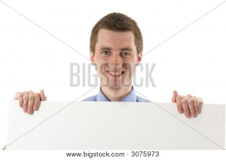 Business Man On Blue Shirt Holding A Billboard And Smile.