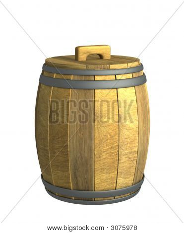 Old Wooden 3D Wine A Barrel