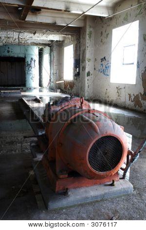 Orange Machine Inside Old Factory