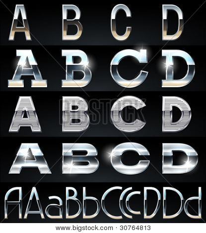 Huge Silver chrome and aluminium vector alphabet set. 4 types. Set # 1