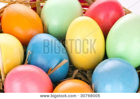 Eastern Eggs In Different Colours In A Basket With A Rabbit