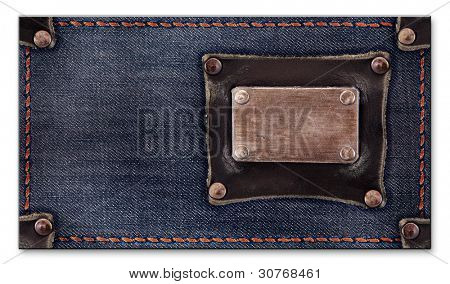 jeans business card for your design. isolated on a white background