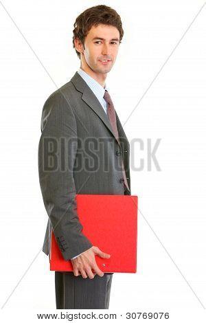 Modern Employee Holding Folder