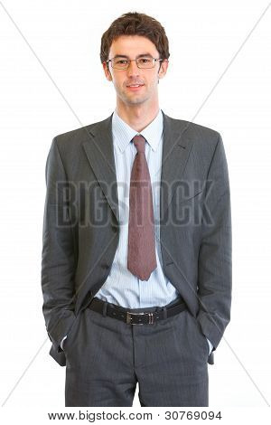 Portrait Of Happy Business Man In Eyeglasses