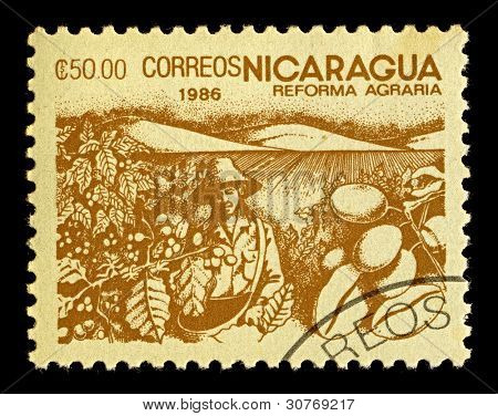 NICARAGUA-CIRCA 1986:A stamp printed in NICARAGUA shows image of agrarian reform, circa 1986.