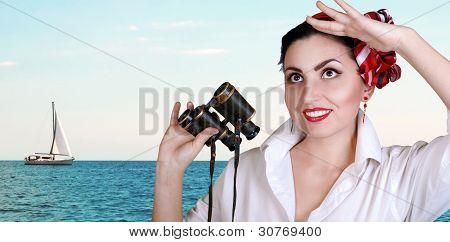 Pretty Women Portrait At The Sea View