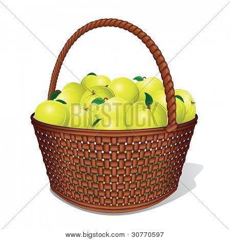 Juicy Sweet Apples in Woven Basket. Vector Illustration