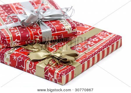 Christmasts Gifts In Red Decoration On White Background