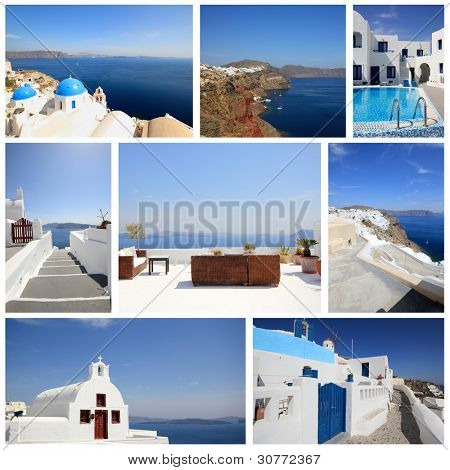 set of summer photos of Santorini island Greece