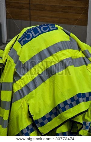 Police High Visability Jackets Piled Up At The Notting Hill Carnival