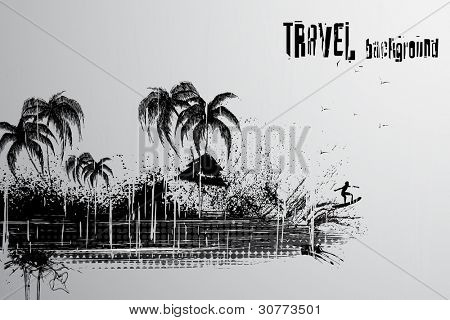 illustration of retro travel background of sea view with scratch
