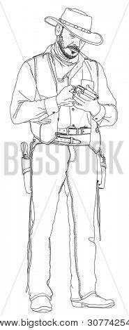 Cowboy com um revólver. Série de faroeste.  Desenho vetorial