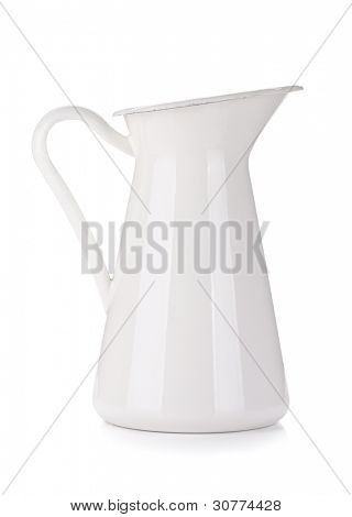 White metal milk pitcher. Isolated on white background
