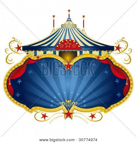 A circus frame with a big top and a large copy space with curtains for your message