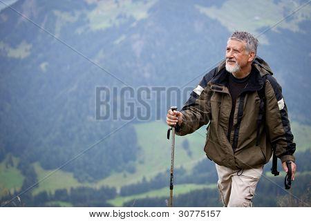 Senior activo senderismo en las montañas altas (Alpes suizos)
