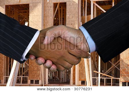 Business team shaking hands while closing a deal