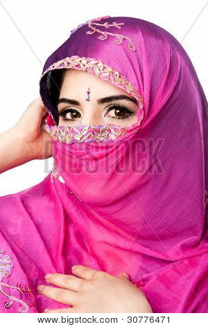 Indian Hindu Woman With Headscarf