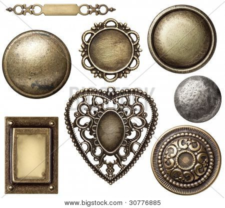 Vintage metal frames, buttons, isolated.