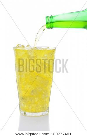 A bottle of Lemon Lime soda pouring into a glass filled with ice cubes over a white background.