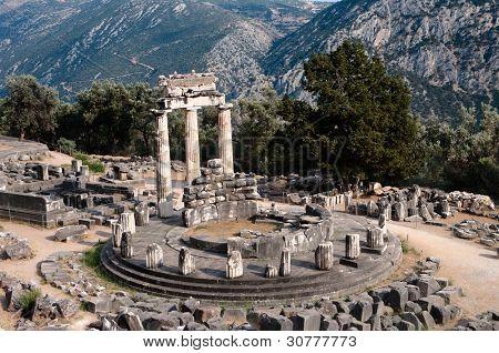 circular temple (tholos) of Athena Pronaia Sanctuary in  Delphi oracle, Greece