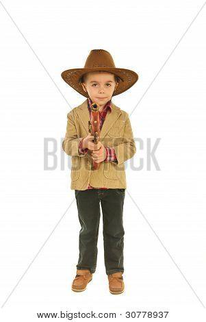 Full Length Of Little Cowboy