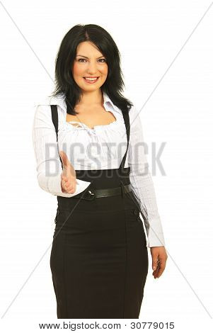 Happy Executive Woman Giving Hand