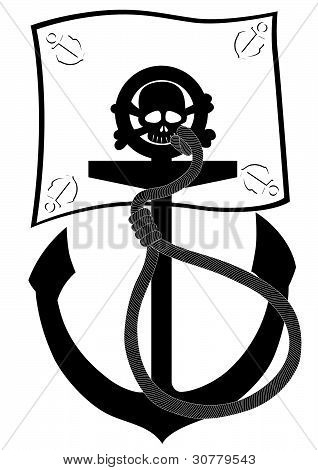 Pirate flag and anchor