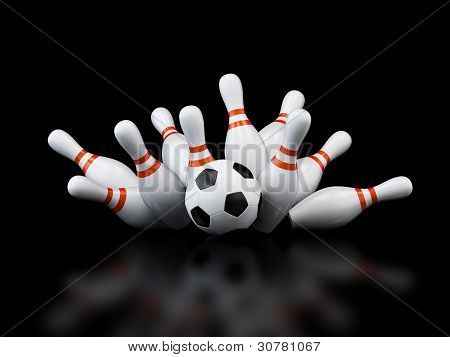 Footbol Goal Strike Bowling On Black Background