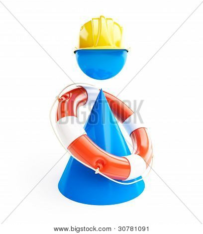 Man Rescue Life Buoy On A White Background