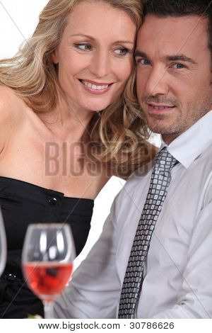 close-up couple at table