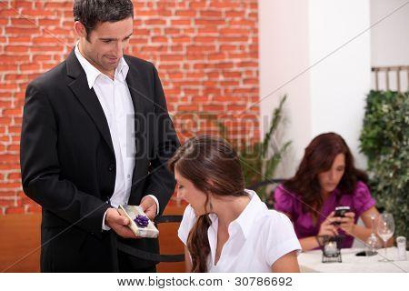 Husband giving wife present