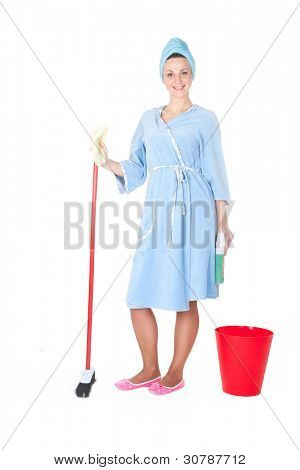 The image of girl with a mop