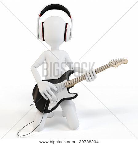 3D Man Rocking With Guitar