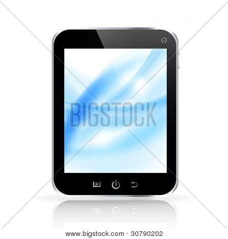 Abstract light blue background on tablet pc display. Vector eps10 illustration