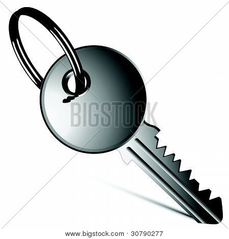 Silver Key Against White