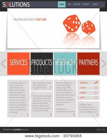 Fresh White Web Site Template, with red dice and black, gray, red and blue accents