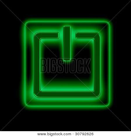 Power button against black background