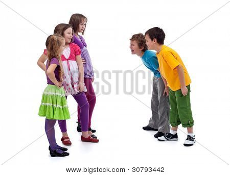 Group of boys and girls confronting - gender interactions in childhood